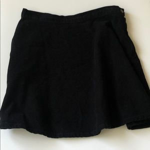 American Apparel Black Corduroy A Line Mini Skirt